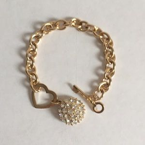 GUESS Golden Metal Bracelet w/ Crystal Ball New